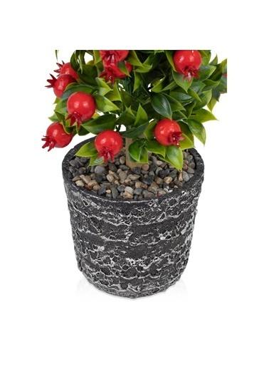 Çiçekmisin Porselen Saksıda Yapay Nar Ağacı Renkli
